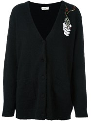 Saint Laurent Smoking Gun Embellished Cardigan Black