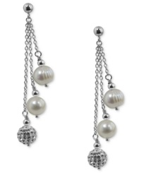 Honora Style Cultured Freshwater Pearl 7Mm And Crystal Drop Earrings In Sterling Silver