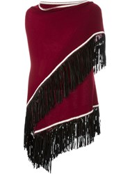 Antonia Zander Fringed Poncho Red