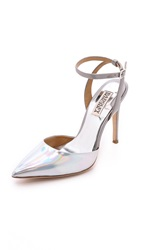 Badgley Mischka Presto Ankle Strap Pumps Silver Grey