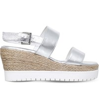 Carvela Kup Metallic Leather Wedge Sandals Silver