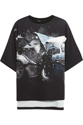 Christopher Kane Printed Jersey T Shirt Black Gray