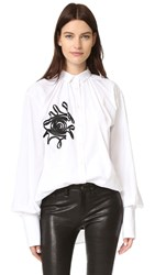 Tome Embroidered Shirt With Evil Eye White