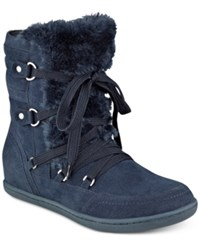 G By Guess Ryla Faux Fur Trim Booties Women's Shoes Navy