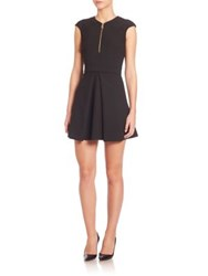 Versace Cap Sleeve Fit And Flare Dress Black