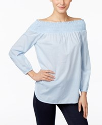 Michael Kors Striped Off The Shoulder Peasant Blouse Shore Blue