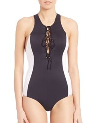 Clover Canyon One Piece Colorblock Lace Up Swimsuit Black