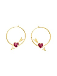 Marie Helene De Taillac Cupid's Arrow Ruby Heart Hoop Earrings Metallic