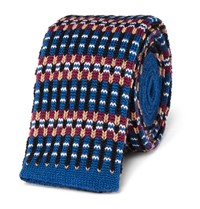 Etro Knitted Wool Tie Blue