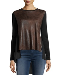 Neiman Marcus Faux Suede Long Sleeve Crewneck Tee Brown