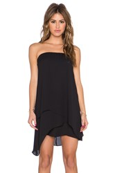 Krisa Asymmetrical Tube Mini Dress Black