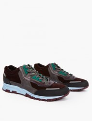 Lanvin Burgundy Leather And Mesh Running Sneakers