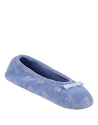 Isotoner Terry Embroidered Ballerina Slippers Periwinkle