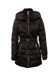 Morgan Belted Down Jacket With Faux Fur Collar Black
