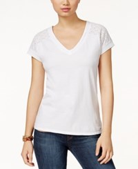 Tommy Hilfiger Clara Eyelet Trim T Shirt Bright White