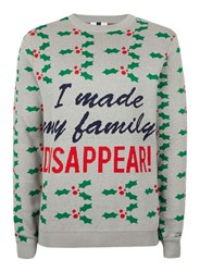 Topman Grey I Made My Family Disappear Christmas Jumper