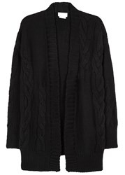 Dknypure Black Cable Knit Merino Wool Cardigan