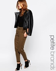 New Look Petite Belted Tapered Trouser Khaki Green