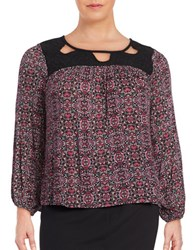 Jessica Simpson Plus Patterned Peasant Blouse Tapestry