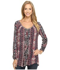 Lucky Brand Tribal Printed Top Persian Red Women's Clothing