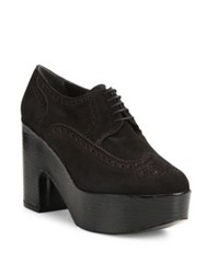 Robert Clergerie Voel Suede Platform Oxfords Black