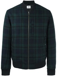 Edwin Plaid Bomber Jacket Blue