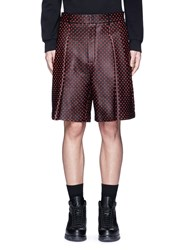 Givenchy Cross Perforated Leather Bermuda Shorts Black