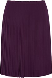 Prada Pleated Crepe Skirt Grape