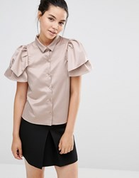 Sister Jane Double Ruffle Short Sleeve Shirt In Metallic Nude Nude Beige
