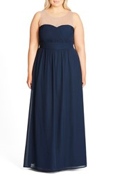 City Chic Plus Size Women's Embellished Sheer Illusion Neck Gown French Navy