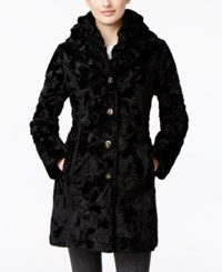 Laundry By Shelli Segal Petite Reversible Faux Fur Quilted Coat Black