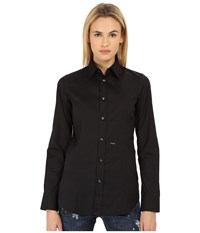 Dsquared Classic One Button Shirt Black Women's Long Sleeve Button Up