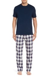 Uggr Men's Ugg 'Grant' Cotton Pajamas Navy Plaid Navy
