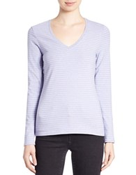 Lord And Taylor Plus Stretch Cotton V Neck Pullover Peri Heather