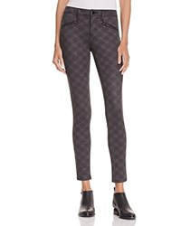 Aqua Graphic Plaid Zip Legging Pants Grey Black