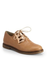 Mm6 Maison Margiela Cutout Leather Oxford Flats Amber