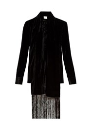 Hillier Bartley Fringed Scarf Velvet Blouse Black