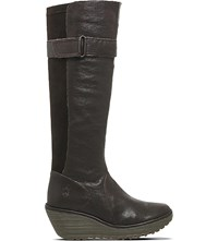 Fly London Yash Leather Knee High Boots Dark Brown Leather