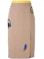 Iceberg Embellished Skirt Brown