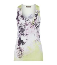 Roberto Cavalli Floral Knitted Tank Top Female Yellow