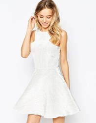 Ax Paris Kick Out Skater Dress In Irredescant Fabric Cream