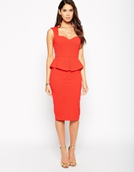 Vesper Daisy Peplum Pencil Dress Orange