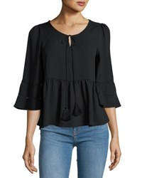 Lucca Couture 3 4 Sleeve Tassel Neck Top Black