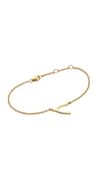 Jennifer Zeuner Jewelry Mini Wishbone Bracelet Gold