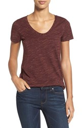 Caslonr Petite Women's Caslon Relaxed Slub Knit U Neck Tee Red Cordovan Spacedye