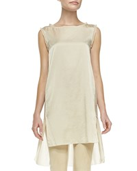 Donna Karan Sleeveless Stacked Hem Tunic Parchment