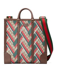 Gucci Gg Chevron North South Tote Red Green