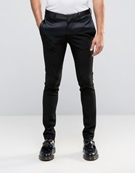 Asos Super Skinny Smart Trousers With Satin Panel In Black Black