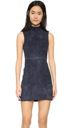 Alexander Wang Stretch Suede Mock Neck Dress Marine