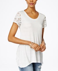 Miss Me Lace Sleeve Ruffled Back Top Off White